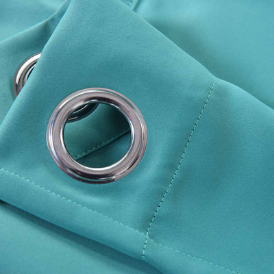 "Blackout Curtains 52x84"" Turquoise Pack of 2 Thermal Insulated With Chrome Grommet Window Treatment Panels"