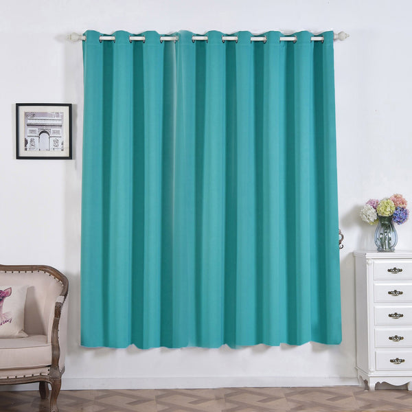 "52""x84"" Turquoise Thermal Blackout Curtains With"