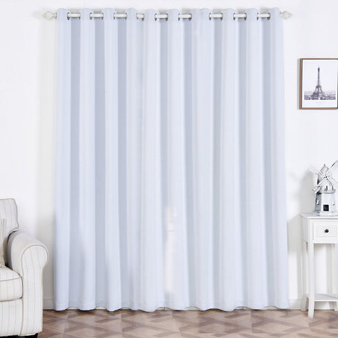 "2 Pack | 52""x96"" White Thermal Blackout Curtains With Chrome Grommet Window Treatment Panels"