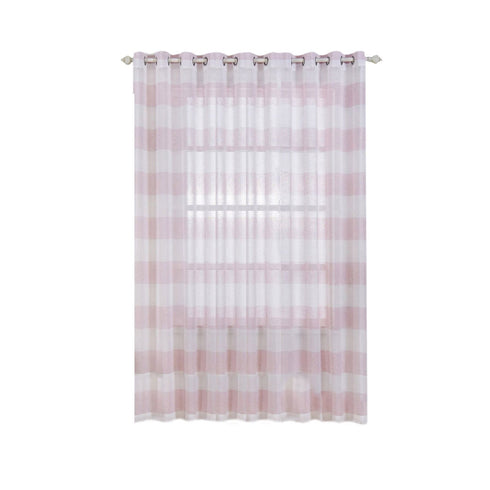 "2 Pack | 52""x 108"" Cabana Print Faux Linen Curtain Panels With Chrome Grommet - White / Blush"