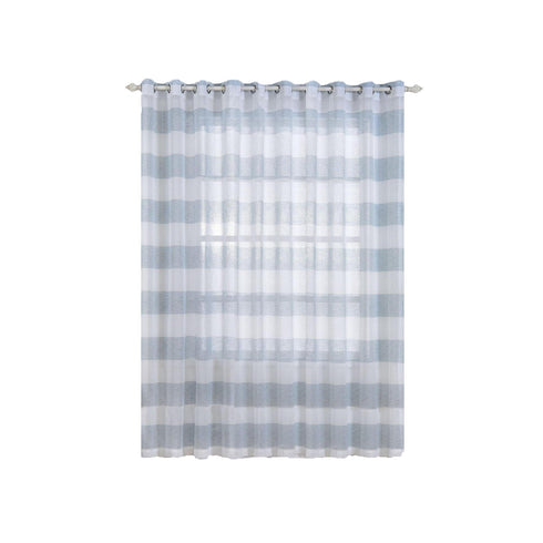 "Pack of 2 | 52""x 108"" Cabana Print Faux Linen Curtain Panels With Chrome Grommet - White / Blue"