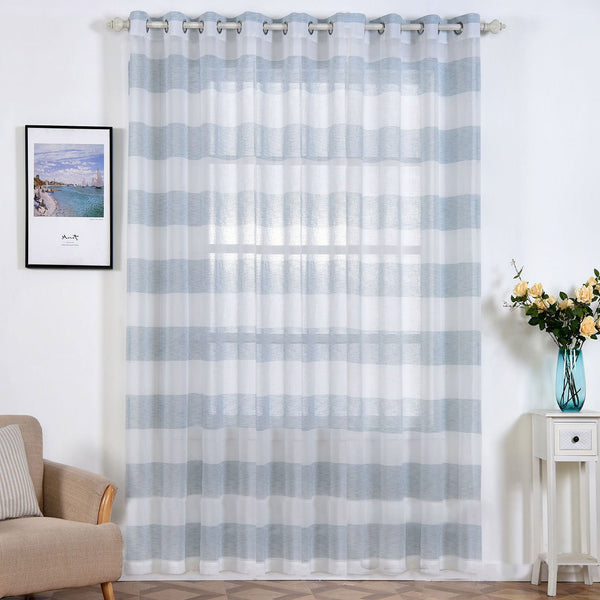 "Pack of 2 | 52""x108"" Cabana Print Faux Linen Curtain Panels With Chrome Grommet - White / Blue"