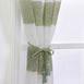 "Pack of 2 | 52""x 108"" Cabana Print Faux Linen Curtain Panels With Chrome Grommet - White / Sage Green"