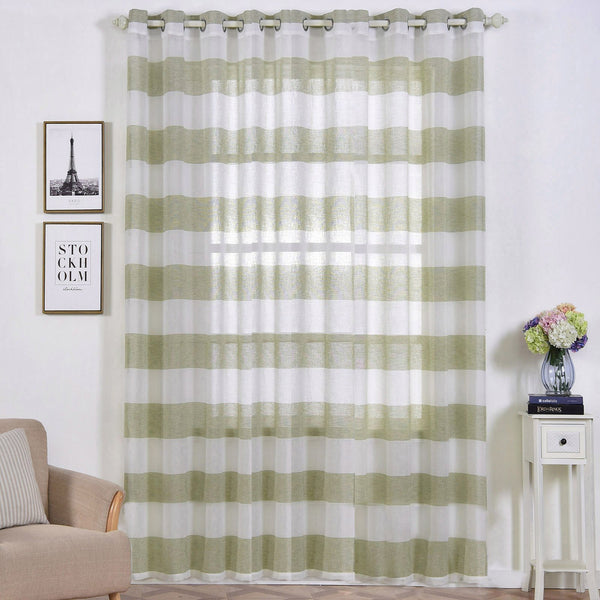 "Pack of 2 | 52""x108"" Cabana Print Faux Linen Curtain Panels With Chrome Grommet - White / Sage Green"