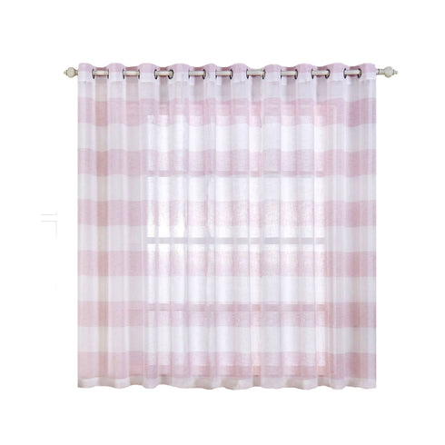 "Pack of 2 | 52""x 64"" Cabana Print Faux Linen Curtain Panels With Chrome Grommet - White / Blush"