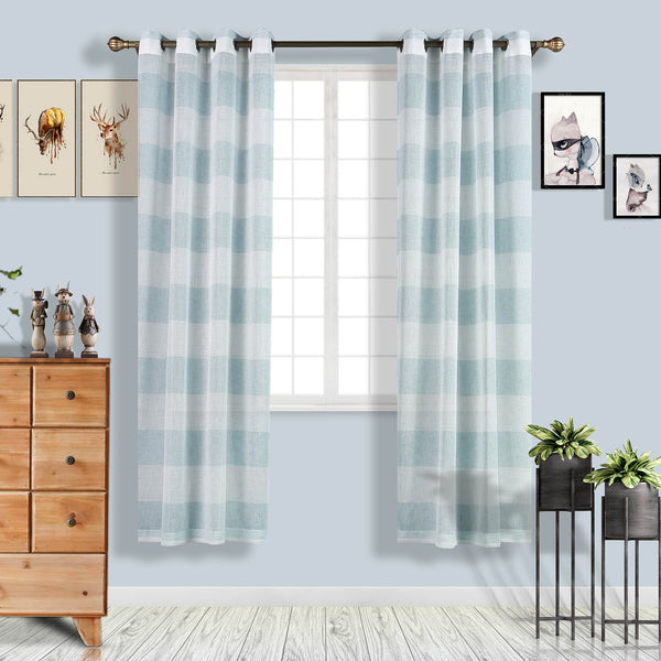 "Pack of 2 | 52""x84"" Cabana Print Faux Linen Curtain Panels With Chrome Grommet - White / Blue"