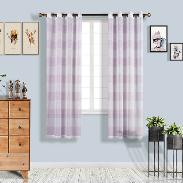 "Pack of 2 | 52""x84"" Cabana Print Faux Linen Curtain Panels With Chrome Grommet - White / Lavender"