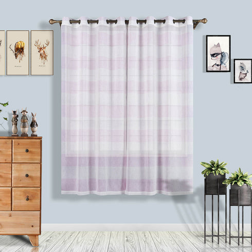 "Pack of 2 | 52""x 84"" Cabana Print Faux Linen Curtain Panels With Chrome Grommet - White / Lavender"