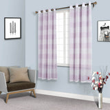 "2 Pack | 52""x 84"" Cabana Print Faux Linen Curtain Panels With Chrome Grommet - White / Lavender"