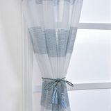 "2 Pack 52""x 96"" Cabana Print Faux Linen Curtain Panels With Chrome Grommet - White / Blue"