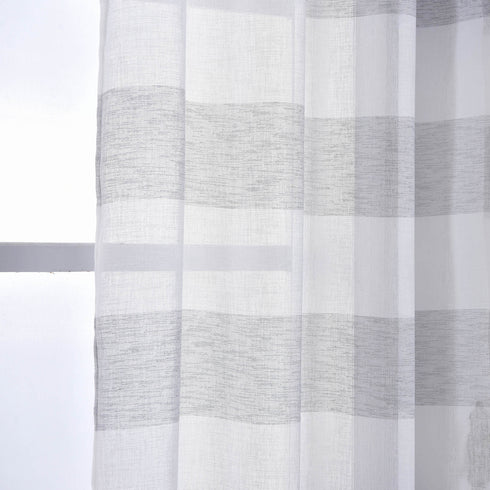 "2 Pack | 52""x 96"" Cabana Print Faux Linen Curtain Panels With Chrome Grommet - White / Silver"