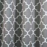 "Blackout Curtains Lattice Print 52""x108"" White/Charcoal Gray Pack of 2 Thermal Insulated With Chrome Grommet Window Treatment Panels"