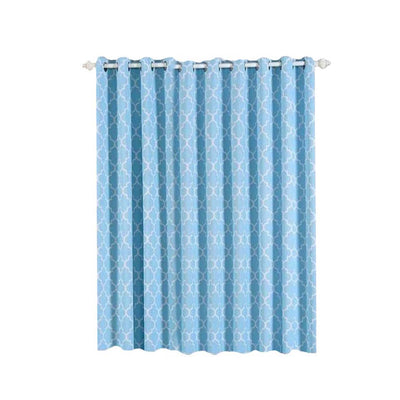 "2 Pack | 52""x108"" Lattice Print Thermal Blackout Curtains With Chrome Grommet Window Treatment Panels - White 