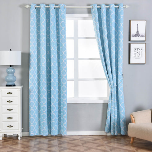 "Pack of 2 | 52""x108"" Lattice Print Thermal Blackout Curtains With Chrome Grommet Window Treatment Panels - White 