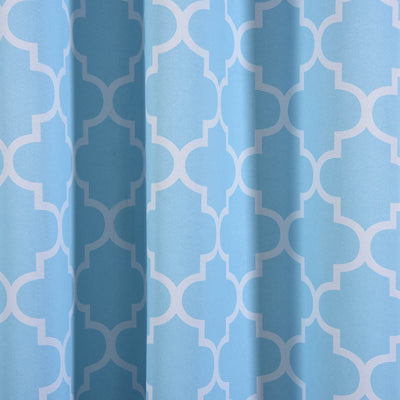 "Blackout Curtains Lattice Print 52""x108"" White/Blue Pack of 2 Thermal Insulated With Chrome Grommet Window Treatment Panels"