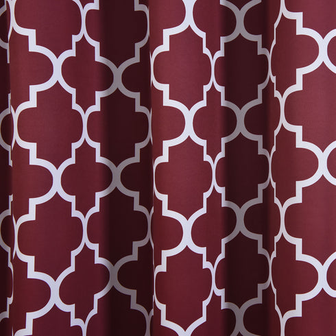 "Blackout Curtains Lattice Print 52""x108"" White/Burgundy Pack of 2 Thermal Insulated With Chrome Grommet Window Treatment Panels"