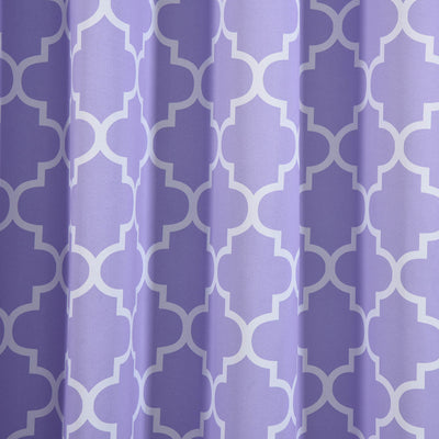 "Blackout Curtains Lattice Print 52""x108"" White/Lavender Pack of 2 Thermal Insulated With Chrome Grommet Window Treatment Panels"