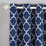 "Blackout Curtains Lattice Print 52""x108"" White/Navy Blue Pack of 2 Thermal Insulated With Chrome Grommet Window Treatment Panels"