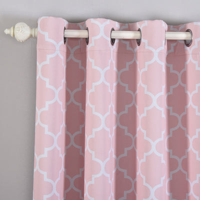 "Blackout Curtains Lattice Print 52""x64"" White/Blush Pack of 2 Thermal Insulated With Chrome Grommet Window Treatment Panels"