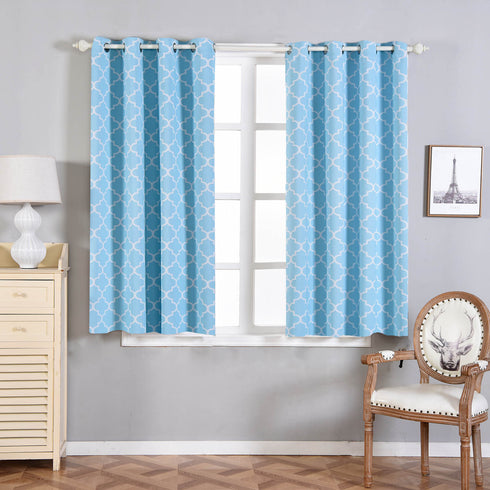 "Blackout Curtains Lattice Print 52""x64"" White/Blue Pack of 2 Thermal Insulated With Chrome Grommet Window Treatment Panels"