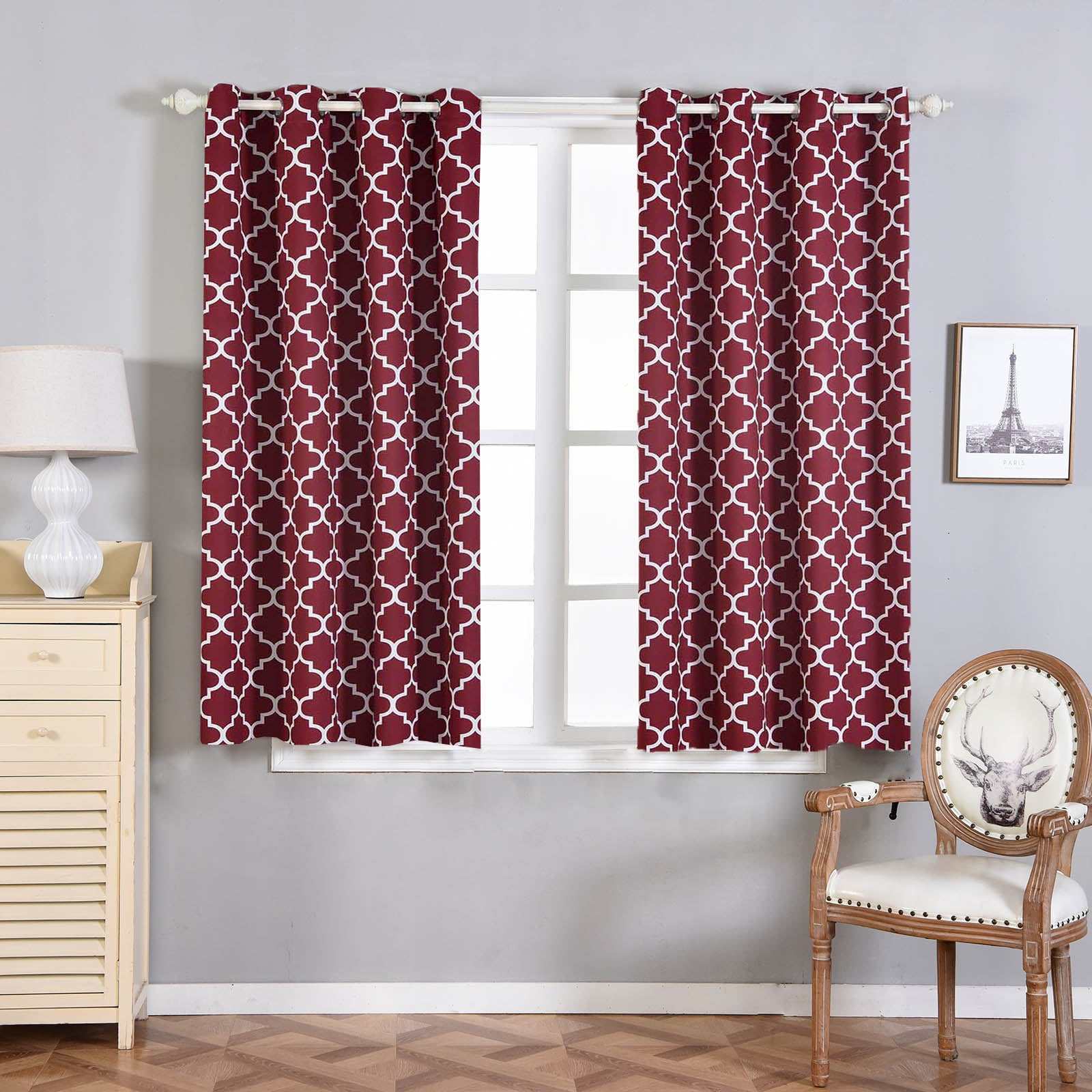 Blackout Curtains Lattice Print 52x64 White Burgundy Pack Of 2 Thermal Insulated