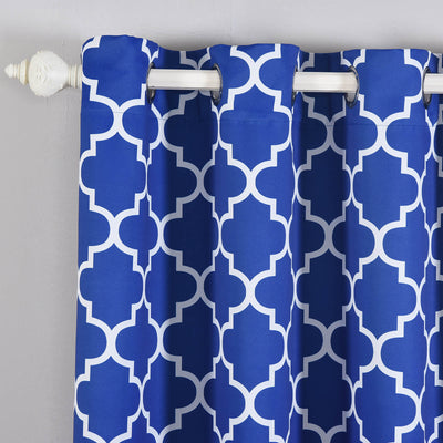 "Blackout Curtains Lattice Print 52""x64"" White/Royal Blue Pack of 2 Thermal Insulated With Chrome Grommet Window Treatment Panels"