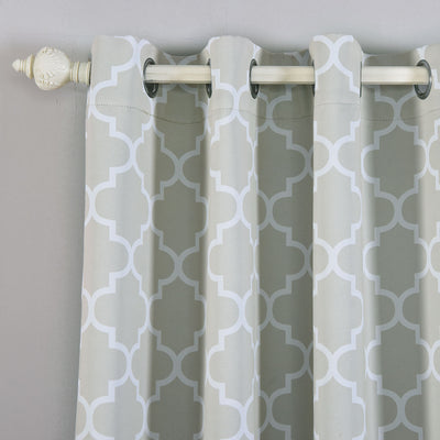 "Blackout Curtains Lattice Print 52""x64"" White/Silver Pack of 2 Thermal Insulated With Chrome Grommet Window Treatment Panels"