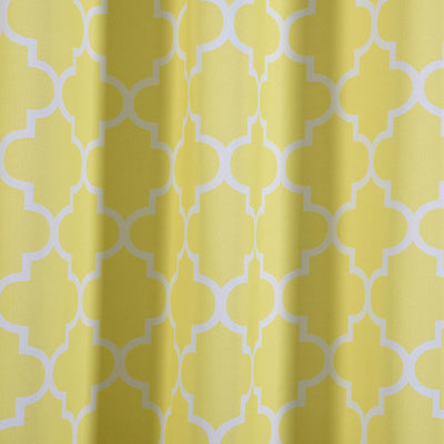 "Blackout Curtains Lattice Print 52""x64"" White/Yellow Pack of 2 Thermal Insulated With Chrome Grommet Window Treatment Panels"