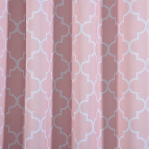 "Blackout Curtains Lattice Print 52""x84"" White/Blush Pack of 2 Thermal Insulated With Chrome Grommet Window Treatment Panels"