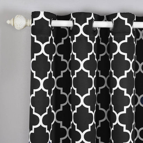 "Blackout Curtains Lattice Print 52""x84"" White/Black Pack of 2 Thermal Insulated With Chrome Grommet Window Treatment Panels"