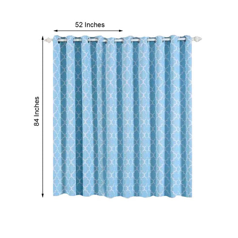 "Pack of 2 | 52""x84"" Lattice Print Thermal Blackout Curtains With Chrome Grommet Window Treatment Panels - White 