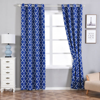 "Blackout Curtains Lattice Print 52""x96"" White/Royal Blue Pack of 2 Thermal Insulated With Chrome Grommet Window Treatment Panels"