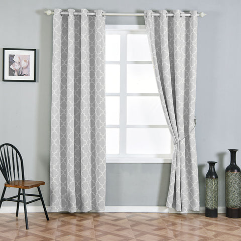 Blackout Curtains Lattice Print 52x96 White Silver Pack Of 2 Thermal Insulated