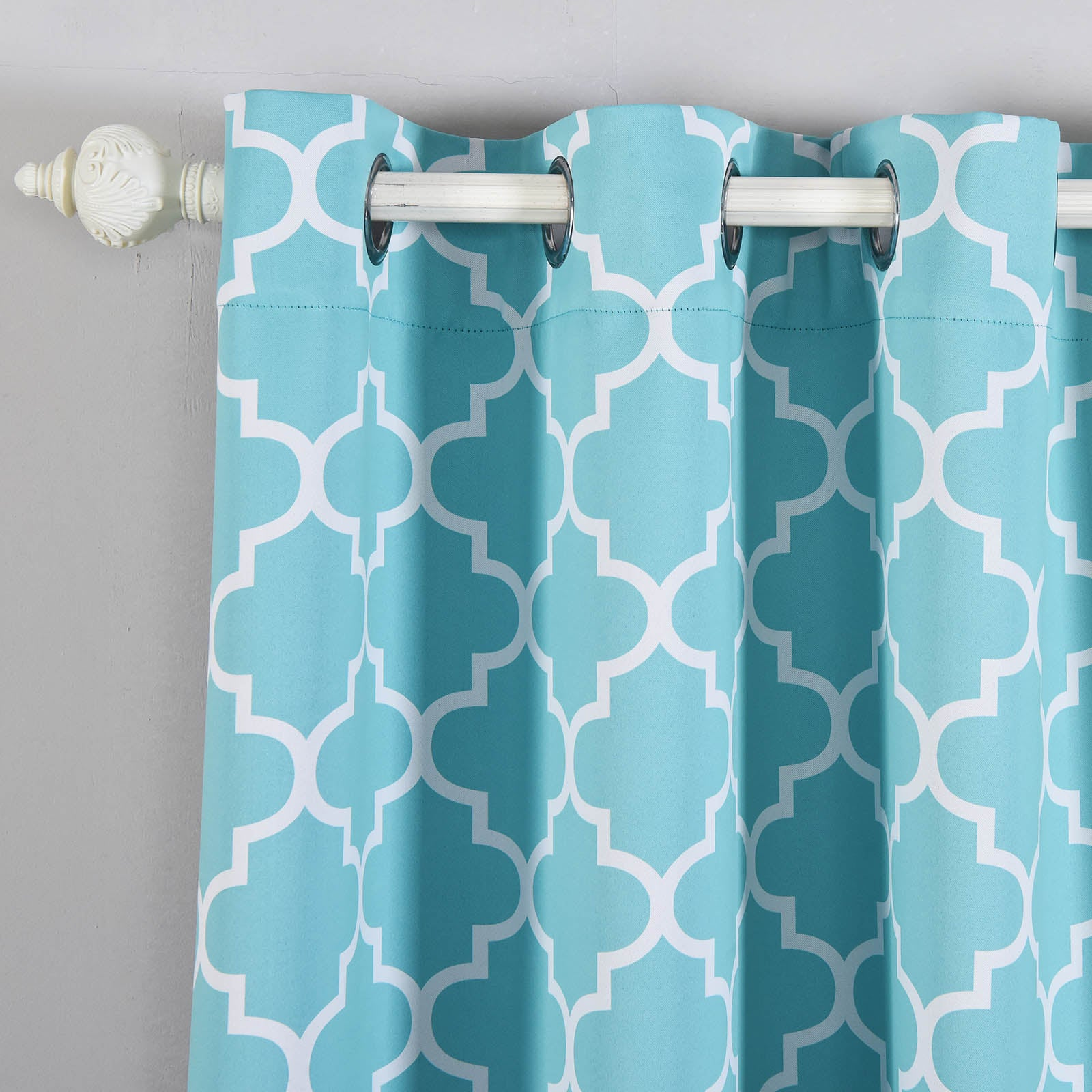 Blackout Curtains Lattice Print 52x96 White Turquoise Pack Of 2 Thermal Insulated