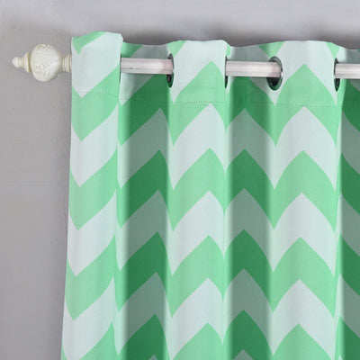 "Blackout Curtains 52x108"" White/Mint Chevron Design Pack of 2 Thermal Insulated With Chrome Grommet Window Treatment Panels"