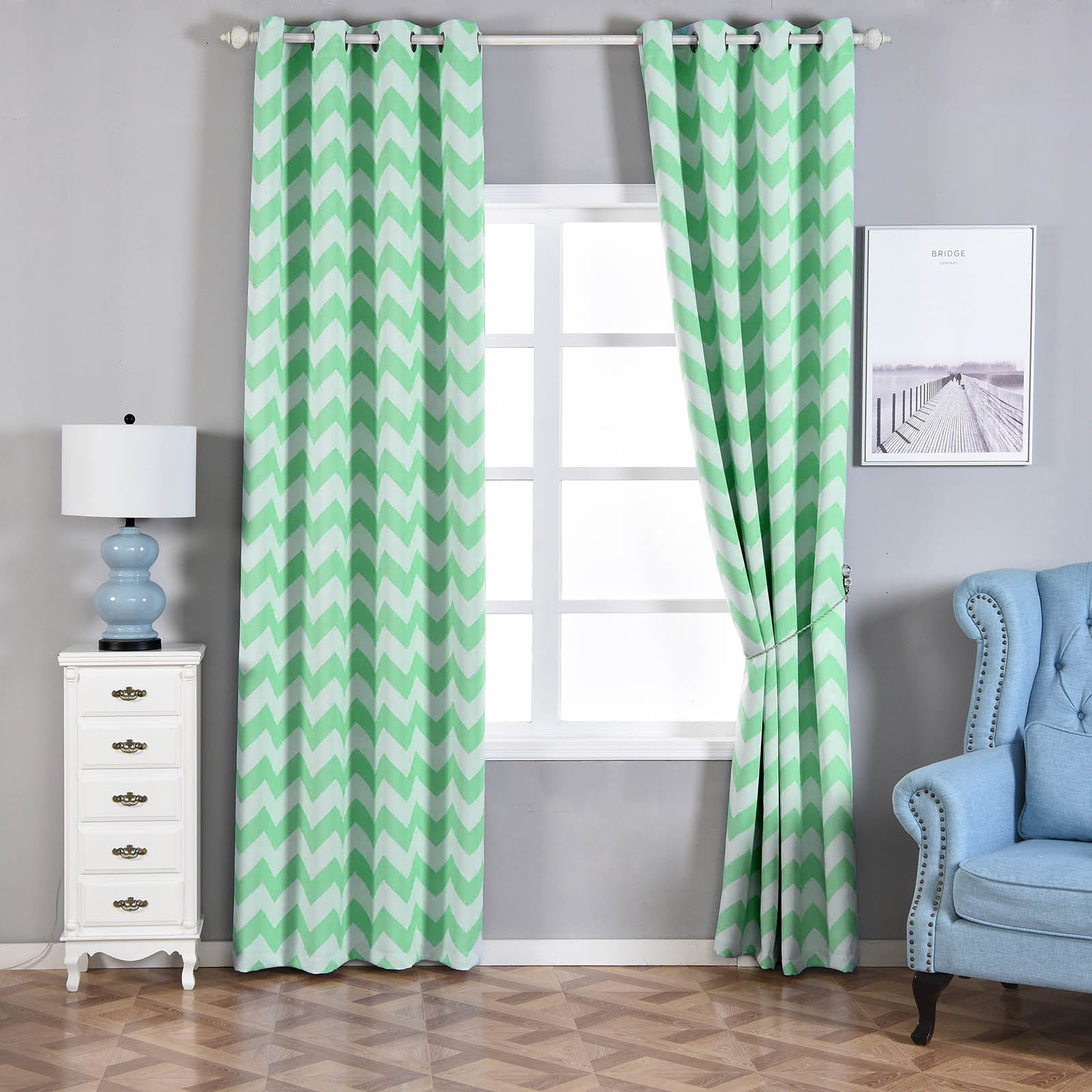 Blackout Curtains 52x108 White Mint Chevron Design Pack Of 2 Thermal Insulated With Chrome Grommet Window Treatment Panels