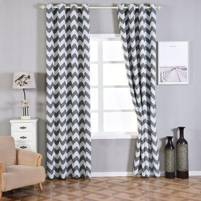 "Blackout Curtains 52x108"" White/Charcoal Grey Chevron Design Pack of 2 Thermal Insulated With Chrome Grommet Window Treatment Panels"