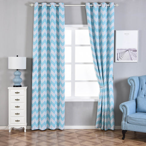 "Blackout Curtains 52x108"" White/Blue Chevron Design Pack of 2 Thermal Insulated With Chrome Grommet Window Treatment Panels"