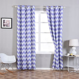 "Blackout Curtains 52x108"" White/Lavender Chevron Design Pack of 2 Thermal Insulated With Chrome Grommet Window Treatment Panels"