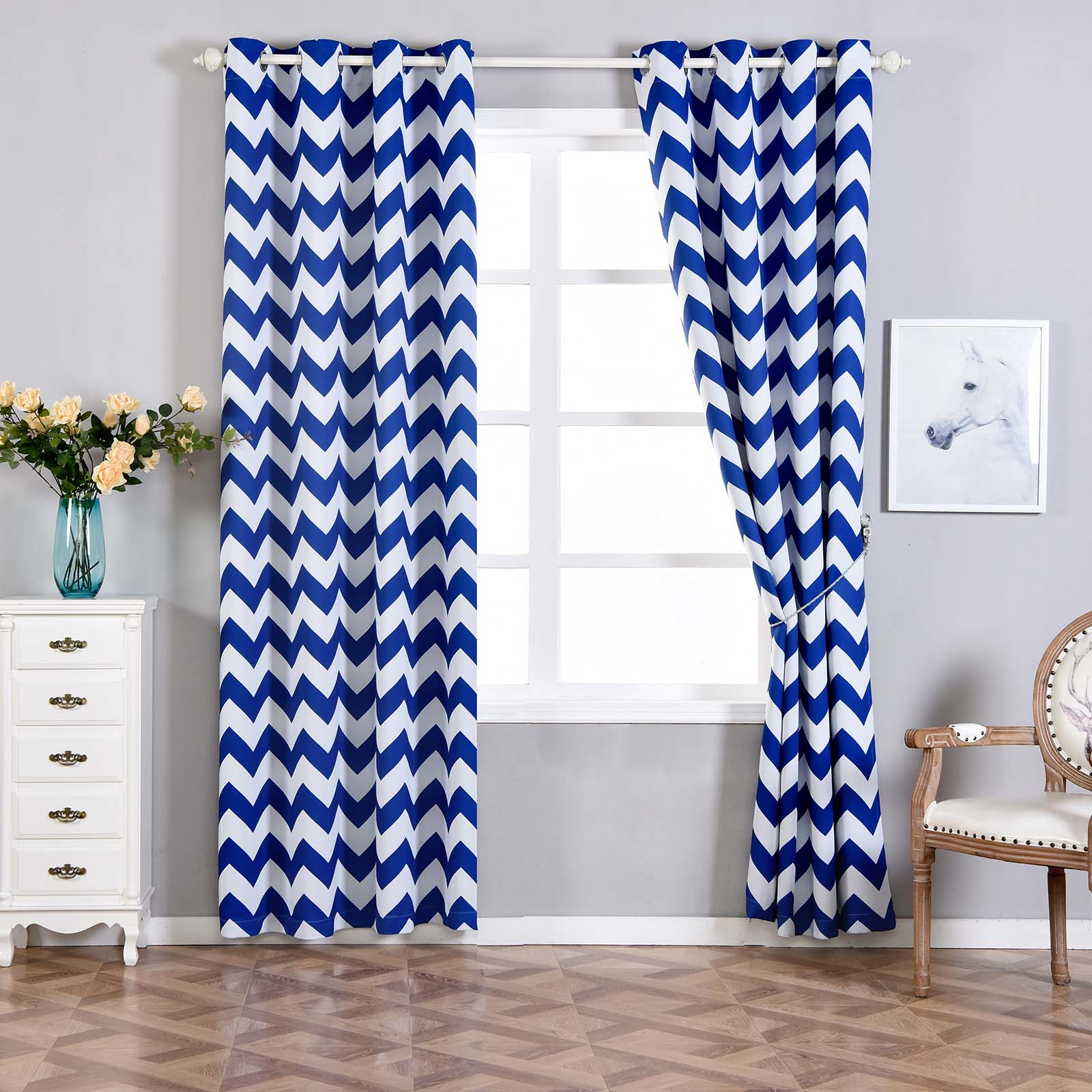 taffeta royal silk faux curtains curtain blue blackout ptpch printed delft