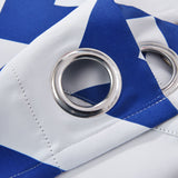 "Blackout Curtains 52x108"" White/Royal Blue Chevron Design Pack of 2 Thermal Insulated With Chrome Grommet Window Treatment Panels"