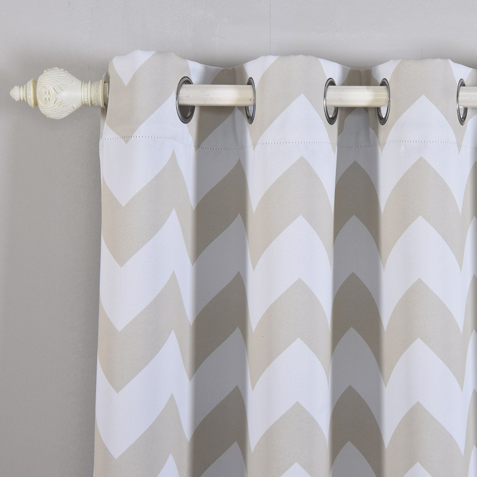Blackout Curtains 52x108 White Silver Chevron Design Pack Of 2 Thermal Insulated With Chrome
