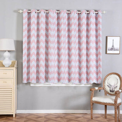 "2 Pack | 52""x64"" Chevron Design Thermal Blackout Curtains With Chrome Grommet Window Treatment Panels - White 