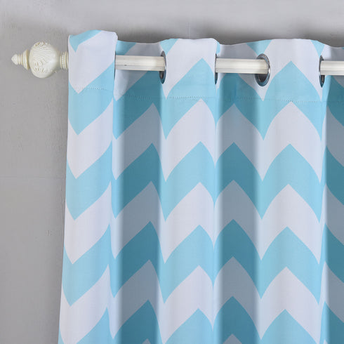 "Blackout Curtains 52x64"" White/Blue Chevron Design Pack of 2 Thermal Insulated With Chrome Grommet Window Treatment Panels"