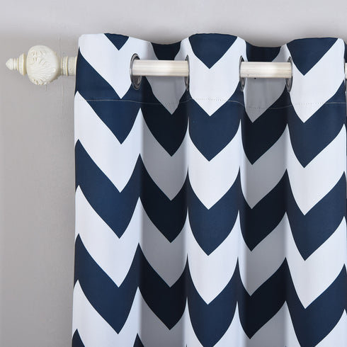 "Blackout Curtains 52x64"" White/Navy Blue Chevron Design Pack of 2 Thermal Insulated With Chrome Grommet Window Treatment Panels"