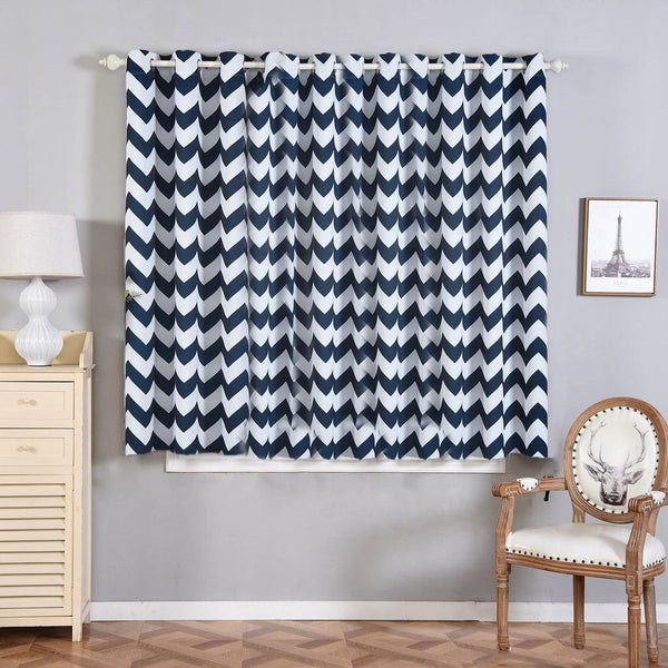"Pack of 2 | 52""x64"" Chevron Design Thermal Blackout Curtains With Chrome Grommet Window Treatment Panels - White 
