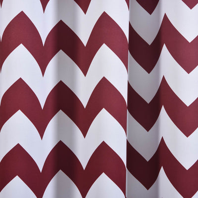 "Blackout Curtains 52x84"" White/Burgundy Chevron Design Pack of 2 Thermal Insulated With Chrome Grommet Window Treatment Panels"