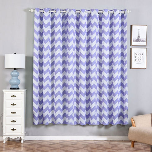 "2 Pack | 52""x84"" Chevron Design Thermal Blackout Curtains With Chrome Grommet Window Treatment Panels - White 