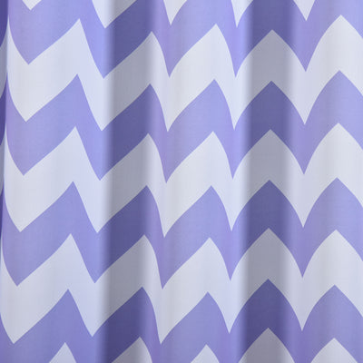 "Blackout Curtains 52x84"" White/Lavender Chevron Design Pack of 2 Thermal Insulated With Chrome Grommet Window Treatment Panels"