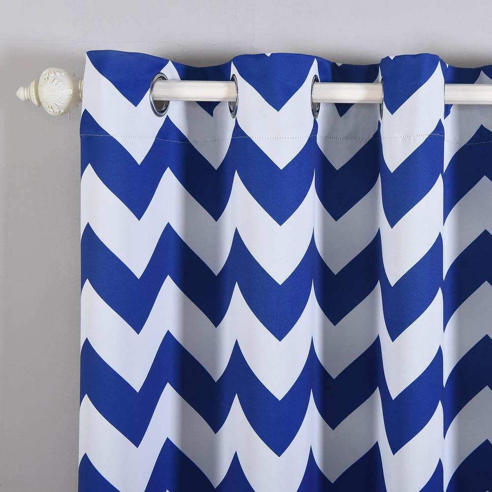 2 Pack 52quot;x84quot; Chevron Design Thermal Blackout Curtains With Chrome Grommet Window Treatment